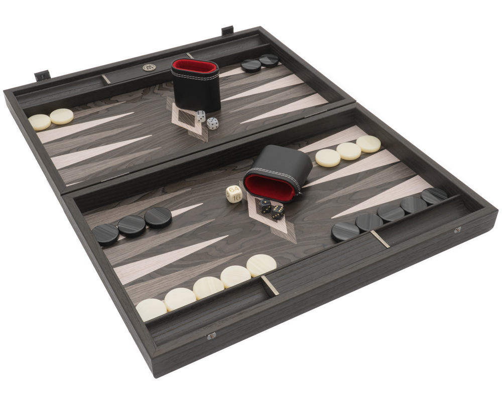 Ebony and Grey Oak Luxury Backgammon Set with Philos Deluxe Cups