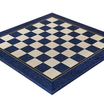 19.7 Inch Satin Blue Erable and Maple Deluxe Chess Board